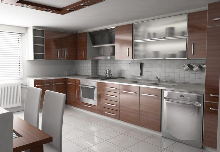 Küçük Mutfaklar İçin Camlı Mutfak Dolap Modelleri 2016